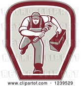 Vector Clip Art of Retro Cartoon Running Handy Guy with a Wrench and Tool Box in a Shield by Patrimonio