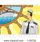 Vector Clip Art of Retro Cartoon Sailor with a Ship and Helm by BNP Design Studio