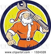 Vector Clip Art of Retro Cartoon Santa Claus Mechanic with a Giant Wrench in a Blue White and Yellow Circle by Patrimonio