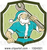 Vector Clip Art of Retro Cartoon Santa Claus Mechanic with a Giant Wrench in a Green and White Shield by Patrimonio