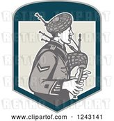 Vector Clip Art of Retro Cartoon Scotsman Playing Bagpipes in a Shield by Patrimonio