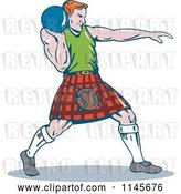 August 14th, 2018: Vector Clip Art of Retro Cartoon Scottish Shot Put Guy by Patrimonio