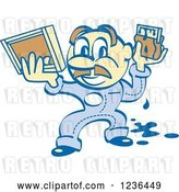 Vector Clip Art of Retro Cartoon Screen Printer Guy with Paint and a Screen by Andy Nortnik