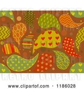 Vector Clip Art of Retro Cartoon Seamless Background of Patterned Paisleys by BNP Design Studio