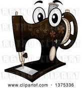Vector Clip Art of Retro Cartoon Sewing Machine Mascot by BNP Design Studio