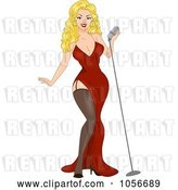 Vector Clip Art of Retro Cartoon Sexy Blond Pinup Lady Singing by BNP Design Studio