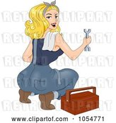 Vector Clip Art of Retro Cartoon Sexy Mechanic Pinup by BNP Design Studio