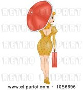 Vector Clip Art of Retro Cartoon Sexy Pinup Lady Walking with a Briefcase and Parasol, Looking Back by BNP Design Studio