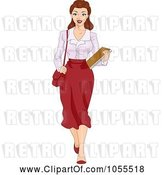 Vector Clip Art of Retro Cartoon Sexy Pinup Secretary Carrying Documents by BNP Design Studio