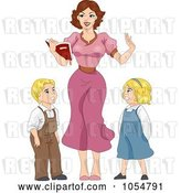 Vector Clip Art of Retro Cartoon Sexy Teacher and Children Pinup by BNP Design Studio