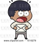 Vector Clip Art of Retro Cartoon Shocked Guy Holding Envelope by Lineartestpilot