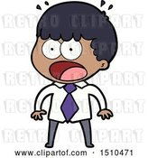 Vector Clip Art of Retro Cartoon Shocked Guy in Shirt and Tie by Lineartestpilot