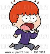 Vector Clip Art of Retro Cartoon Shocked Guy Running Away by Lineartestpilot