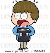 Vector Clip Art of Retro Cartoon Shocked Guy with a Book by Lineartestpilot