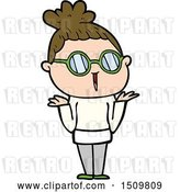 Vector Clip Art of Retro Cartoon Shrugging Lady Wearing Spectacles by Lineartestpilot