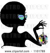 Vector Clip Art of Retro Cartoon Silhouetted Black Lady Wearing Sungasses and Holding a Disco Ball by BNP Design Studio