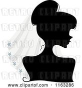 Vector Clip Art of Retro Cartoon Silhouetted Bride Lady Wearing a Veil by BNP Design Studio