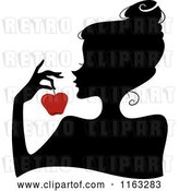 Vector Clip Art of Retro Cartoon Silhouetted Lady Holding a Red Apple by BNP Design Studio