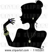 Vector Clip Art of Retro Cartoon Silhouetted Lady Wearing Jewelery by BNP Design Studio