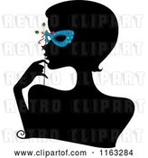 Vector Clip Art of Retro Cartoon Silhouetted Lady with a Blue Mask over Her Eyes by BNP Design Studio