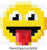 Vector Clip Art of Retro Cartoon Silly 8 Bit Video Game Style Emoji Smiley Face Sticking a Tongue out by AtStockIllustration