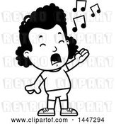 Vector Clip Art of Retro Cartoon Singing Black Girl in Shorts by Cory Thoman