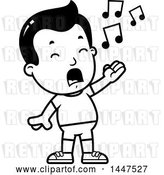 Vector Clip Art of Retro Cartoon Singing Boy in Shorts by Cory Thoman