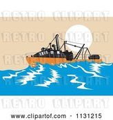 Vector Clip Art of Retro Cartoon Sinking Fishing Boat at Sea by Patrimonio