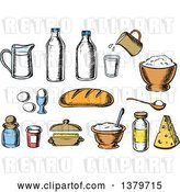 Vector Clip Art of Retro Cartoon Sketched Baking Ingredients by Vector Tradition SM