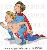 Vector Clip Art of Retro Cartoon Sketched Caricature of Hillary Clinton Wrestling Donald Trump and Holding Him in a Headlock by Patrimonio