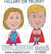 Vector Clip Art of Retro Cartoon Sketched Caricatures of Hillary Clinton and Donald Trump As Wrestlers or Luchadors with Text by Patrimonio