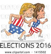 Vector Clip Art of Retro Cartoon Sketched Caricatures of Hillary Clinton and Donald Trump Running for the Presidency with Elections 2016 Text by Patrimonio