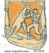 Vector Clip Art of Retro Cartoon Sketched Male Boxer Fighting a Kangaroo by Patrimonio