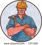 Vector Clip Art of Retro Cartoon Sketched Male Builder Holding a Hammer in a Circle by Patrimonio