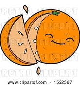 Vector Clip Art of Retro Cartoon Sliced Orange by Lineartestpilot