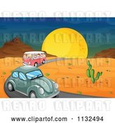 Vector Clip Art of Retro Cartoon Slug Bug and Kombi Van on a Desert Road by Graphics RF