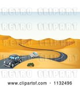 Vector Clip Art of Retro Cartoon Slug Bug Cars on a Desert Road by Graphics RF