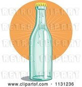 Vector Clip Art of Retro Cartoon Soda Bottle and Orange Burst by Patrimonio