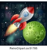 Vector Clip Art of Retro Cartoon Space Shuttle Rocket Flying in Outer Space near a Green Planet by AtStockIllustration