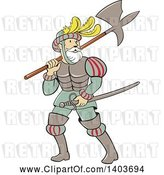 Vector Clip Art of Retro Cartoon Spanish Conquistador Carrying a Sword and Axe by Patrimonio