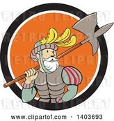 Vector Clip Art of Retro Cartoon Spanish Conquistador Carrying a Sword and Axe in a Black White and Orange Circle by Patrimonio