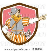 Vector Clip Art of Retro Cartoon Spanish Conquistador Pointing in a Brown White and Pink Shield by Patrimonio
