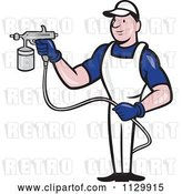Vector Clip Art of Retro Cartoon Spray Painter Worker by Patrimonio