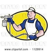 Vector Clip Art of Retro Cartoon Spray Painter Worker on a Yellow Oval by Patrimonio