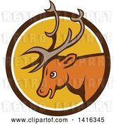 Vector Clip Art of Retro Cartoon Stag Buck Deer Head in a Brown White and Yellow Circle by Patrimonio