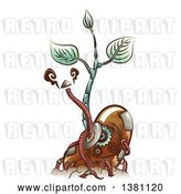 Vector Clip Art of Retro Cartoon Steampunk Sprouting Bean Seedling Plant with Metal Cables by BNP Design Studio