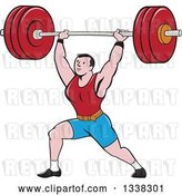 Vector Clip Art of Retro Cartoon Strongman Bodybuilder Doing Lunges with a Barbell over His Head by Patrimonio