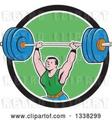 Vector Clip Art of Retro Cartoon Strongman Bodybuilder Lifting a Barbell over His Head, Emerging from a Black White and Green Circle by Patrimonio