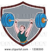 Vector Clip Art of Retro Cartoon Strongman Bodybuilder Lifting a Barbell over His Head, Emerging from a Brown White and Gray Shield by Patrimonio