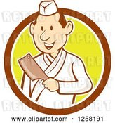 Vector Clip Art of Retro Cartoon Styled Japanese Butcher Guy Holding a Cleaver Knife in a Brown White and Yellow Circle by Patrimonio